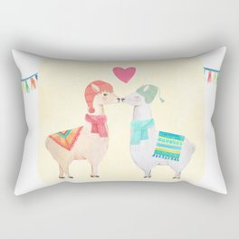 Llamas In Love Rectangular Pillow