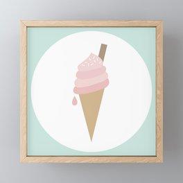 Pink Ice Cream Cone Framed Mini Art Print