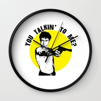 taxi driver Wall Clocks featuring Taxi driver quote by Buby87