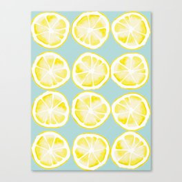 A twist of lemon yellow and blue Canvas Print