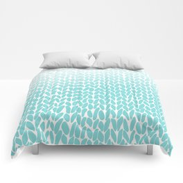 Hand Knitted Ombre Teal Comforters