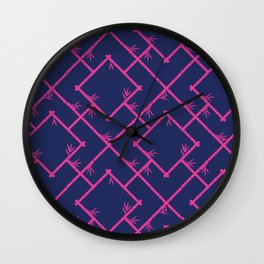 Bamboo Chinoiserie Lattice in Navy + Pink Wall Clock