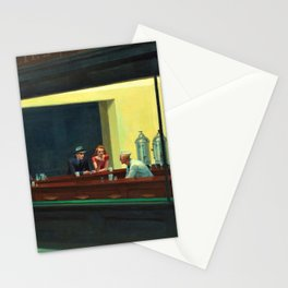 NIGHTHAWKS downtown diner late at night iconic cityscape oil on canvas painting by Edward Hopper Stationery Cards