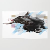 bull Area & Throw Rugs featuring bull by e12art