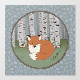 Little Fox in a Little Forest Canvas Print