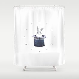 Mr. Rabbit and the Mad Hatter hat Shower Curtain