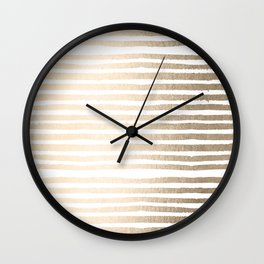 White Gold Sands Shibori Stripes Wall Clock