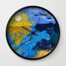 Sunset Bay Needle Felted Landscape Wall Clock