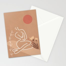 Woman in Nature Illustration Stationery Cards