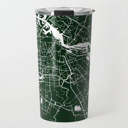 Amsterdam Green on White Street Map Travel Mug