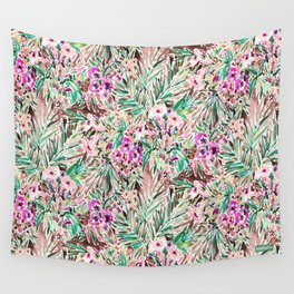 PLEASURE POINT Tropical Watercolor Floral Wall Tapestry