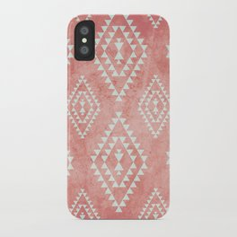 mint & coral tribal pattern (2) iPhone Case