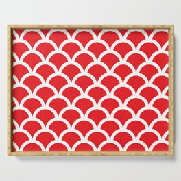Fish Scales in Red and White Serving Tray