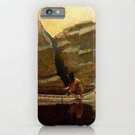 "N C Wyeth Vintage Western Painting ""Birch Bark Canoe"" iPhone Case"