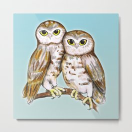 Two cute owls Metal Print