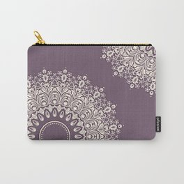 Lace in White on Pale Purple Background Carry-All Pouch