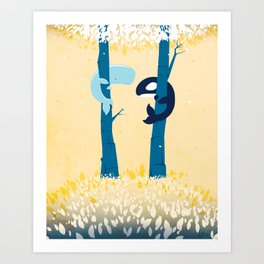 Tree Whales Art Print