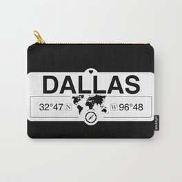 Dallas Texas Map GPS Coordinates Artwork with Compass Carry-All Pouch
