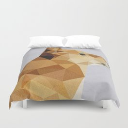GEO GEOMETRIC LOW POLY TRIANGLES VINTAGE DOG ORIGAMI PAPER ANIMAL  Duvet Cover