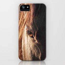 Close up black horse photograph iPhone Case