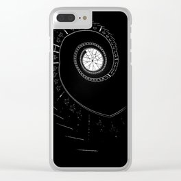 Spiral staircase in blck and white Clear iPhone Case