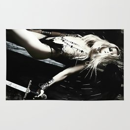 Dark Angel, hot demonic blonde girl with sword, sexy half nude posing, surreal fantasy world Rug