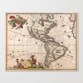 1658 Map of North America and South America with 2015 enhancements Canvas Print