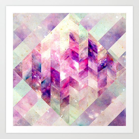 Abstract Geometric Pink Galaxy Art Print