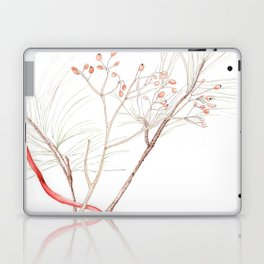 Winter Branches (white pine and rose hips) in Watercolor Laptop & iPad Skin