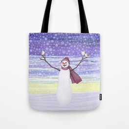 snowman with tufted titmice Tote Bag