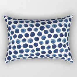 Large Indigo/Blue Watercolor Polka Dot Pattern Rectangular Pillow
