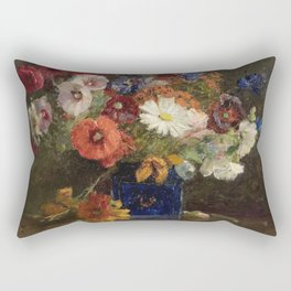 Theodore Clement Steele - Vase Of Flowers. Rectangular Pillow