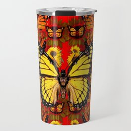 COFFEE BROWN MONARCH BUTTERFLY SUNFLOWERS Travel Mug