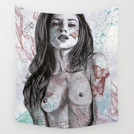 Nothing Violates This Nature (erotic drawing, nude butterfly girl) Wall Tapestry