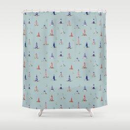 Nautical Lighthouses Coastal Print Shower Curtain