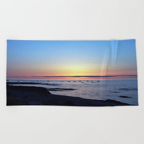 Sun Sets up the River, Across the Sea Beach Towel