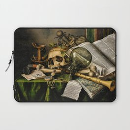 Vintage Vanitas- Still Life with Skull Laptop Sleeve