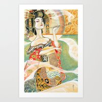 klimt Art Prints featuring Klimt Oiran by Sara Richard