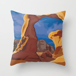 Vintage Poster - Grand Staircase-Escalante National Monument, Utah (2015) Throw Pillow