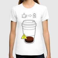coffe T-shirts featuring Warning coffe low by Komrod