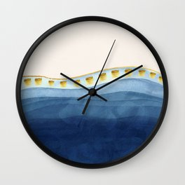 Blue waves and gold strokes Wall Clock