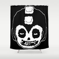mega man Shower Curtains featuring MISFITS MEGA MAN SKULL by UNDEAD MISTER / MRCLV