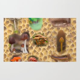 Mushrooms of different colors and shapes Rug