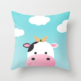 Cow & Buttefly Throw Pillow