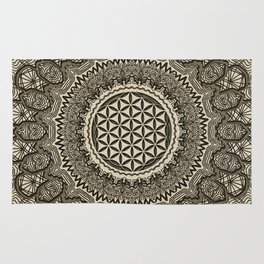 Flower of life in  mandala on canvas Rug