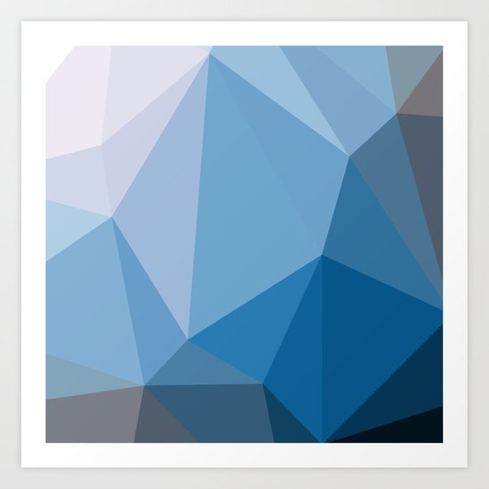Shades Of Blue Triangle Abstract Art Print