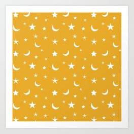 White moon and star pattern on orange background Art Print