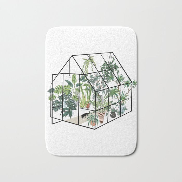 greenhouse with plants Badematte