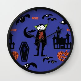 Cute Dracula and friends blue #halloween Wall Clock