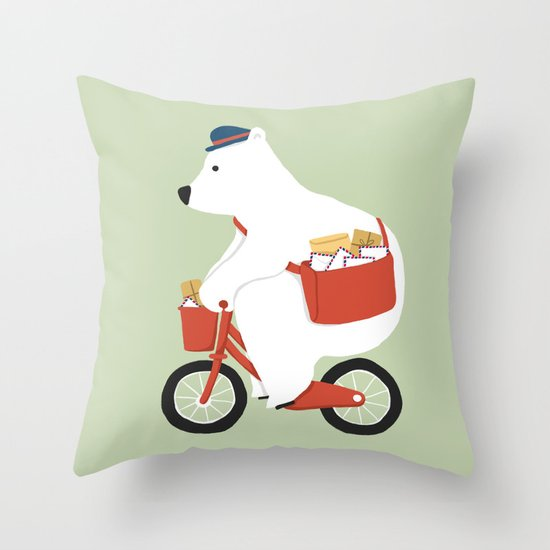 Polar bear postal express Throw Pillow